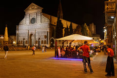 Santa Maria nowele kościół i miejsce nocą Obrazy Royalty Free