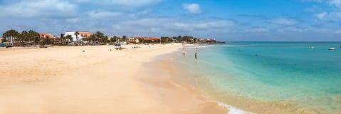 Santa Maria plaża w Sal wyspy przylądku Verde, Cabo - Verde Fotografia Stock
