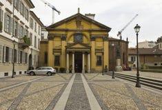 Santa Maria Podone church in Milan, with nobody aroun. MILAN, ITALY - APRIL 16 2015: External view of Santa Maria Podone church in Milan, with nobody around Stock Images