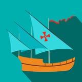 Santa Maria sailing ship icon, flat style Stock Images