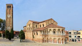 Santa Maria and San Donato Cathedral, and Tower Murano Stock Photos