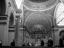 Santa Maria and San Satiro church in Milan in black and white Stock Image