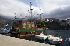 Santa Maria-schip in de zeehaven van Bali bij het Eiland van Kreta Royalty-vrije Stock Afbeeldingen