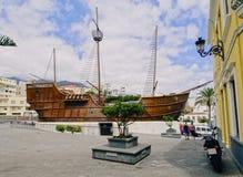 Santa Maria Ship i Santa Cruz de La Palma Royaltyfri Fotografi
