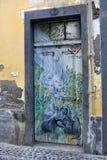 Santa Maria-Straße, gemalte Tür in der alten Stadt von Funchal, wütend Lizenzfreie Stockbilder