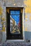 Santa Maria-Straße, gemalte Tür in der alten Stadt von Funchal, wütend Stockbild
