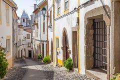 Santa Maria street in Castelo de Vide, Alentejo, Portugal. Royalty Free Stock Photos