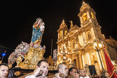 Santa Marija Assunta procession in Gudja, Malta. Royalty Free Stock Photo