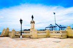 SANTA MARTA, COLOMBIA - OCTOBER 21, 2017: Statue of city founder Rodrigo de Bastidas in Santa Marta, popular caribbean. Destination in northern Colombia Stock Images