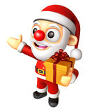 Santa mascot the hand is holding a Gift Box. 3D Christmas Charac Royalty Free Stock Images