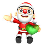 The Santa Mascot is holding a big Heart. 3D Christmas Character Stock Images