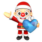The Santa Mascot is holding a big Heart. 3D Christmas Character Royalty Free Stock Image