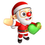 The Santa Mascot is holding a big Heart. 3D Christmas Character Stock Image