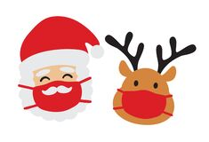 Santa Claus and Reindeer with Face Mask Vector