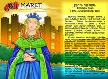 Santa Matilda christian Calendar  idea page. Santo santa chriistian concept table calendar and storybook christian children Stock Image