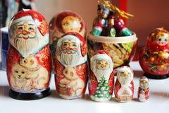 Santa matrioska. A traditional russian matrioska of santa claus Stock Photos