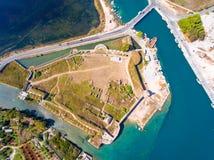 Santa Maura Castle Lefkada-top down luchtmening Stock Afbeeldingen