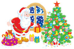 Santa med gåvor Royaltyfria Foton