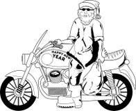 Santa med motorcykeln Arkivbild
