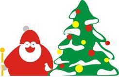Santa med treen Royaltyfri Fotografi