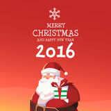 Santa Merry Christmas and Happy New Year 2016  Stock Photography