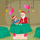 Santa in Merry Christmas holiday greeting card background Stock Photos