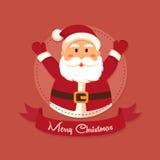 Santa Merry Christmas i cirkelvektorillustration Royaltyfri Foto