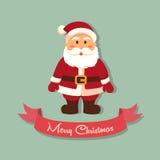 Santa Merry Christmas Vector Greeting kort Fotografering för Bildbyråer
