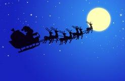 Santa Merry x mas and reindeer Stock Photo