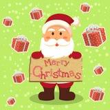 Santa Merry Xmas Gift i gräsplan Royaltyfri Bild