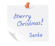 Santa message on piece of paper Royalty Free Stock Photo