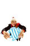 Santa middle aged woman, ten percent discount Royalty Free Stock Photos