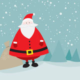 Santa mignonne avec le sac de cadeau Photos stock