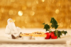 Santa mince pies and holly Royalty Free Stock Photos