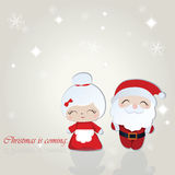 Santa and Misses Claus Merry Christmas background. Vector Stock Photos