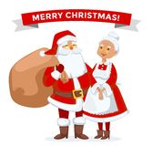 Santa and Missis Claus cartoot family vector Royalty Free Stock Photography