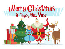 Santa, Missis Claus, duende caçoa, ajudantes, família Fotografia de Stock
