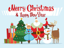 Santa, Missis Claus, elf kids, helpers, family. Santa Claus, Missis Claus, elf kids, helpers, family vector illustration. Christmas cartoot people. Christmas Stock Photos