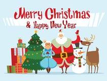 Santa, Missis Claus, elfo scherza, assistenti, famiglia Fotografie Stock