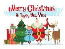 Santa, Missis Claus, elfo scherza, assistenti, famiglia Fotografia Stock