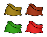 Santa, money bag, Christmas empty sack icon set , symbol, design. Winter vector illustration isolated on white background. Stock Images