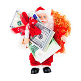 Santa with money gifts Stock Photography