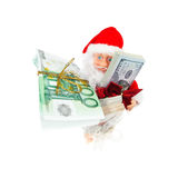 Santa with money stacks. Santa with stacks of euros, dollars and rubles isolated on white background Royalty Free Stock Photo