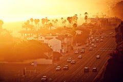 Заход солнца на Santa Monica, Калифорния Стоковое Изображение RF