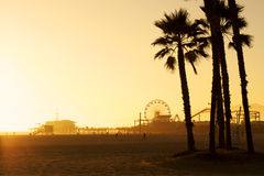 Santa Monica. Silhouette of Santa Monica Pier at Sunset stock photo
