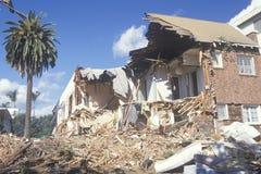 A Santa Monica apartment building destroyed stock image
