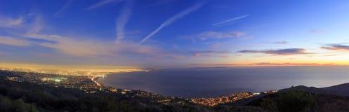 Santa Monica bay from top. Santa Monica bay night scene from top Royalty Free Stock Photo