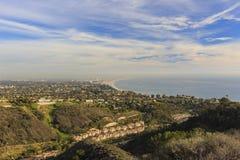 Santa Monica bay from top. Santa Monica bay sunset scene from top Royalty Free Stock Photography