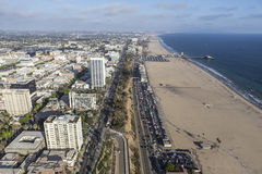 Santa Monica Beach Aerial Image stock