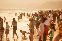 Santa Monica Beach apretada Fotografía de archivo libre de regalías